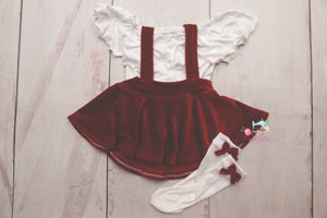 Corduroy Suspender Skirt Set- Sitter Size 9-12 month- Christmas Red- MADE TO ORDER