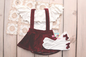 Corduroy Suspender Skirt Set- Sitter Size 9-12 month- Cranberry- MADE TO ORDER