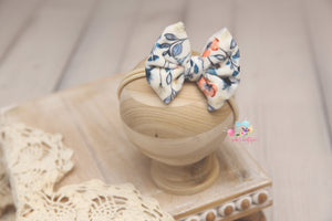 Velvet Baby Bow Headband- Made To Order- Blue Flowers
