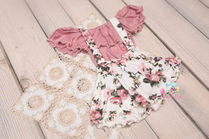 Carnations & Cream Suspender Skirt Set- Sitter Size 9-12 month- MADE TO ORDER
