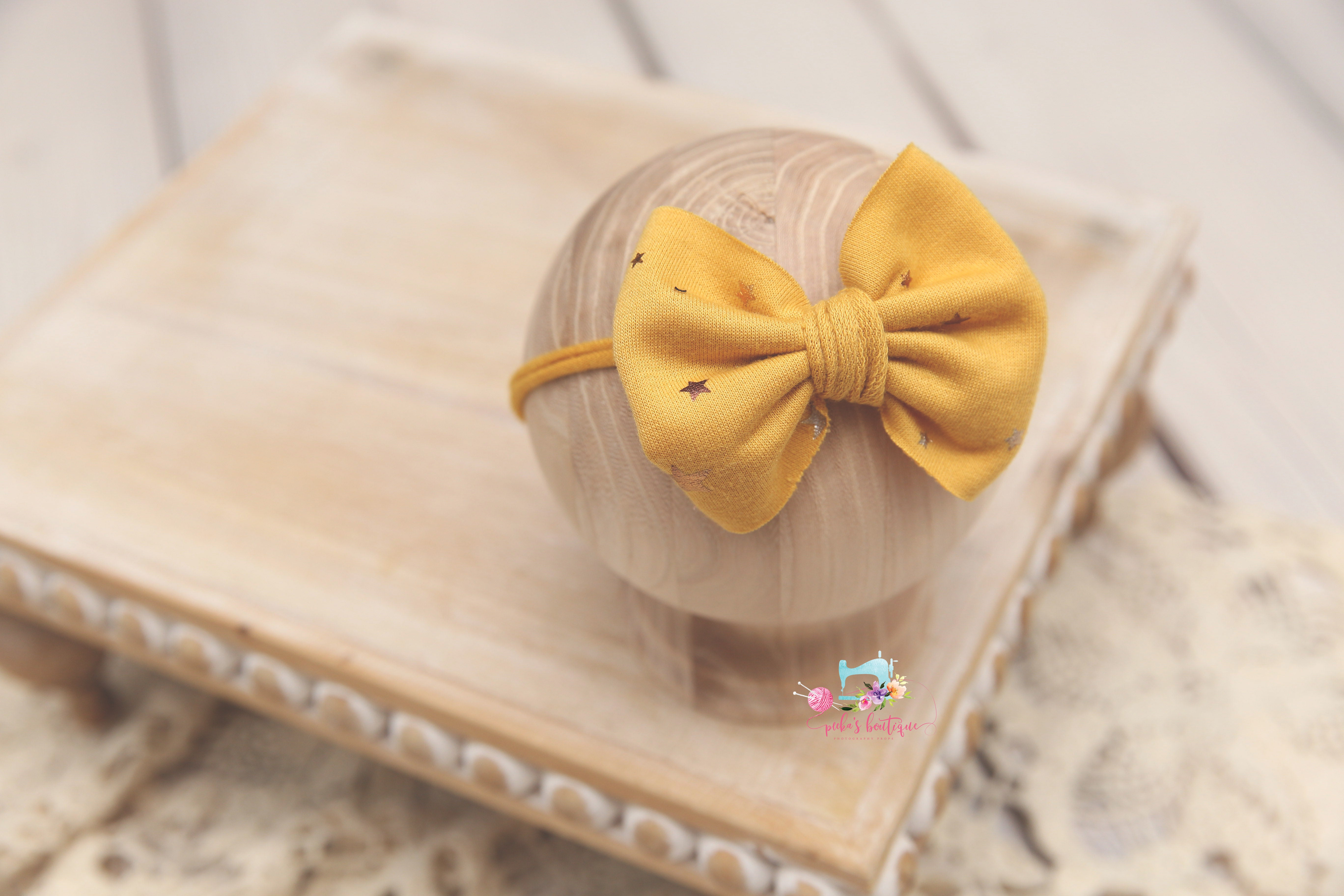 Newborn-Sitter Gold Star- Bow Tiebacks- Made to Order