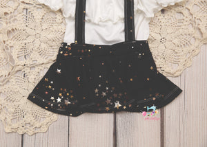 Gold Star Suspender Skirt Set- Sitter Size 9-12 month- *SPECIFY COLOR IN NOTES*-MADE TO ORDER