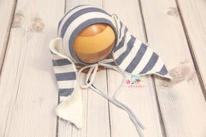 Sitter Striped Bunnies Bonnet and/or Romper- Sailor Stripes- MTO