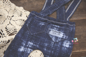 NEW Ripped Greyson Newborn Faux Denim Suspenders- MADE TO ORDER