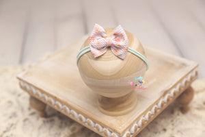 Baby Bow Headband- Made To Order- Coral & Mint Floral Texture