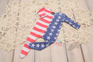 NEW & BRIGHT Newborn Stars & Stripes Footie Jammies- MADE TO ORDER