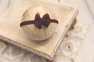 Chiffon Baby Bow Headband- Ready to Ship- Burgundy