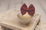 Baby Bow Headband- Made To Order- Distressed Christmas Red