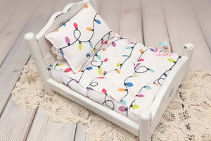 PRE-ORDER- REVERSIBLE 2 Color Christmas Lights & Plaid- NB Mattress