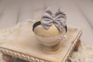 Baby Bow Headband- Made To Order- Distressed Elephant Grey