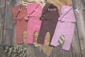 Newborn Distressed Pants and Sleepy Cap Set- MADE TO ORDER