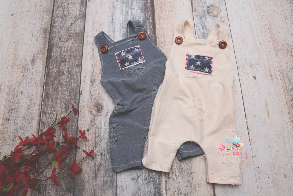The Distressed Patriot Romper-Sitter Size- MADE TO ORDER