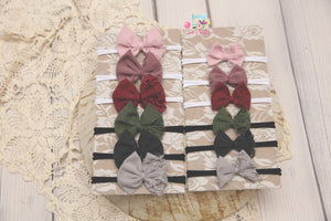 Velvet Baby Bow Headband- Made To Order- Soft Rose