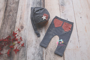 Distressed Patriot Pants & Sleepy Cap- Newborn- MADE TO ORDER