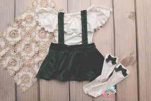 Corduroy Suspender Skirt Set- Sitter Size 9-12 month- Evergreen- MADE TO ORDER