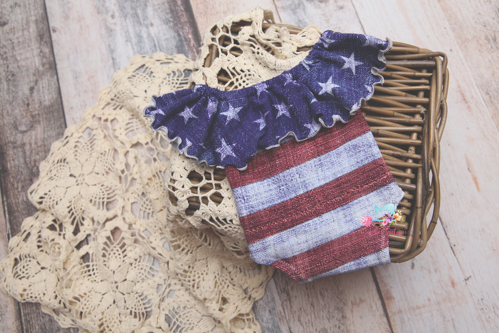 The ORIGINAL Stars & Stripes Flutter- Newborn or Sitter- MADE TO ORDER