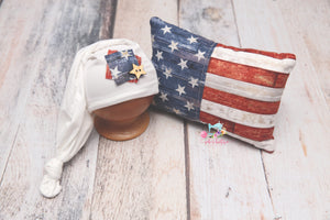 Vintage Patriot Pillow & Sleepy Cap Set- MADE TO ORDER