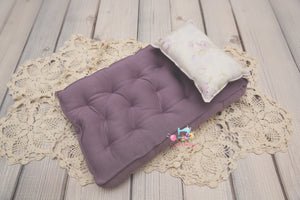 PRE-ORDER REVERSIBLE 2 Color Ivory & Lilac Floral- NB Mattress