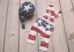 Newborn Patriot Suspenders and/or sleepy cap- MADE TO ORDER