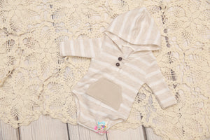 Newborn/Sitter Boy Hooded Neutral Romper- MTO