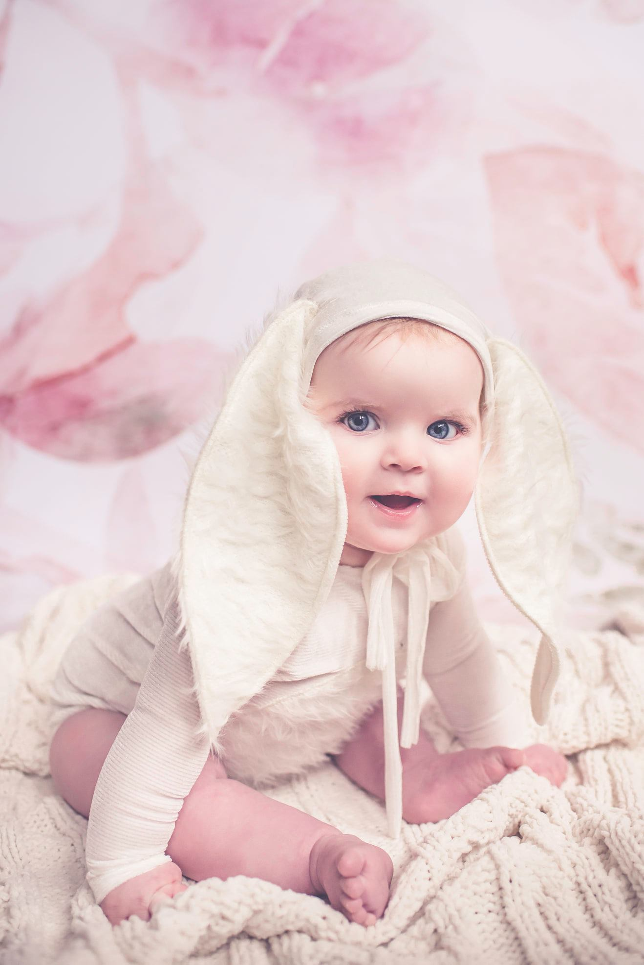 Newborn or Sitter Some Bunnies Bonnet and/or Romper- Dusty Rose- MTO