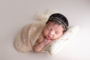 Sheer Mesh Newborn Wrap and/or Pillow- Golden Stars- Made to order