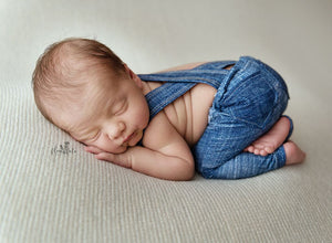 Newborn or Sitter Linen Suspenders- MADE TO ORDER- Dusty Blue