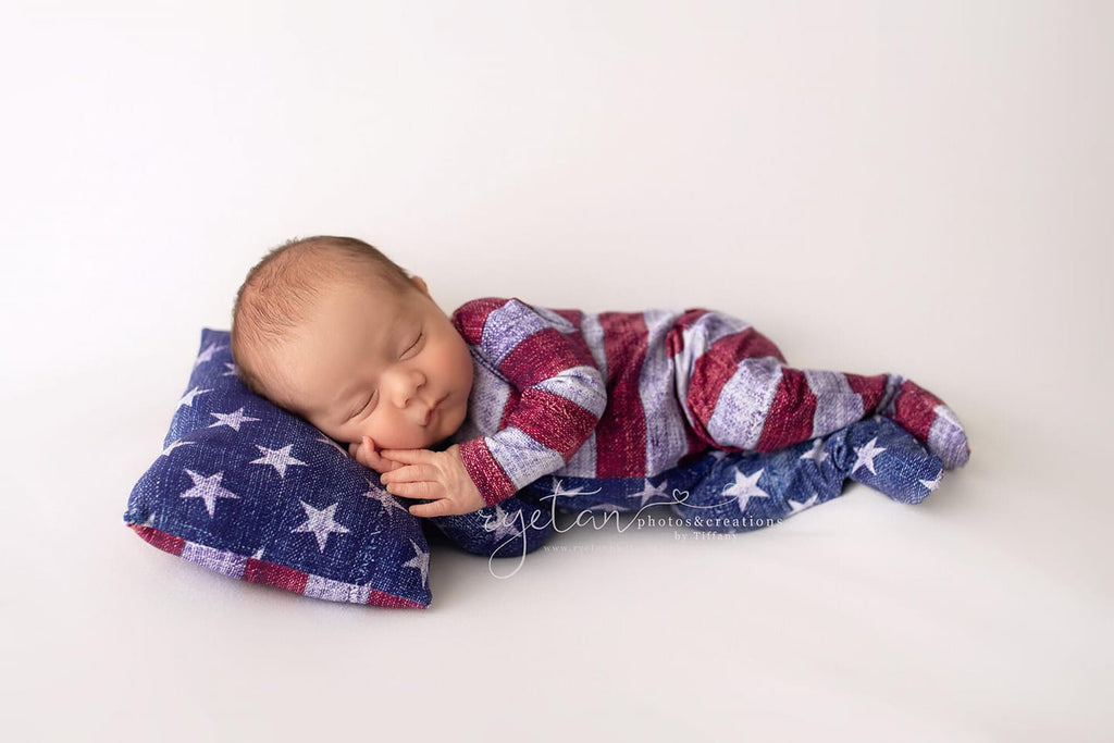 ORIGINAL Newborn Stars & Stripes Footie Jammies- MADE TO ORDER