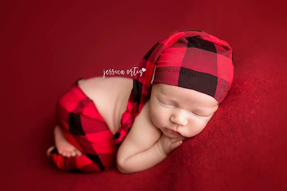 Newborn Buffalo Plaid Pants &/OR Sleepy Cap Set- MADE TO ORDER