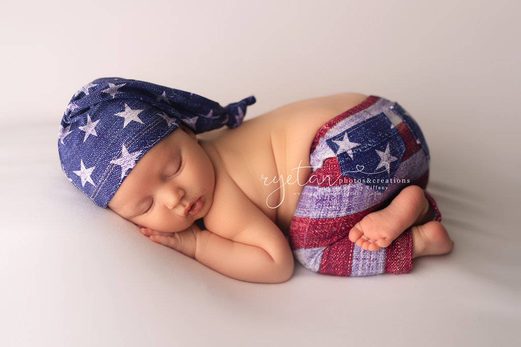 ORIGINAL Newborn Stars & Stripes Pants & Sleepy Cap- MADE TO ORDER