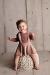 Corduroy Suspender Skirt Set- Sitter Size 9-12 month- Pink Suede- MADE TO ORDER