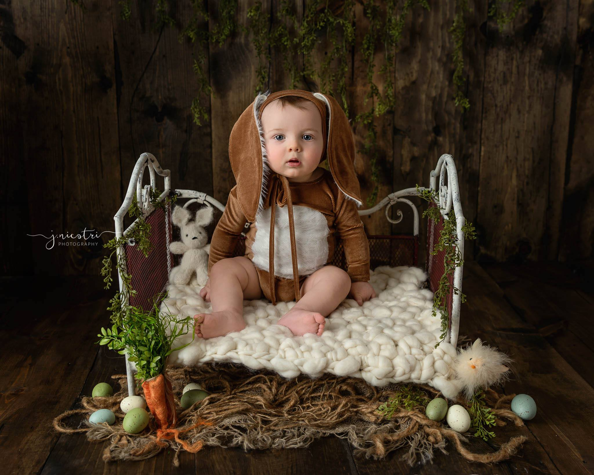 Newborn or Sitter Some Bunnies Bonnet and/or Romper- Corduroy Camel- MTO