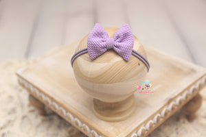 Baby Bow Headband- Made To Order- Lavender Texture