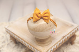 Baby Bow Headband- Made To Order- Mustard Texture