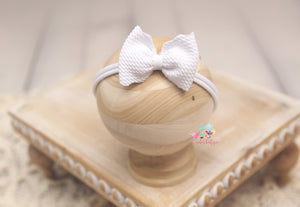 Baby Bow Headband- Made To Order- White Texture
