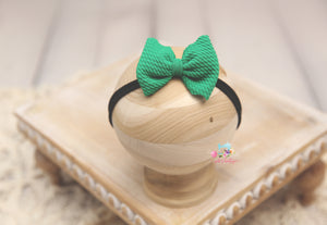 Baby Bow Headband- Made To Order- Christmas Green Texture