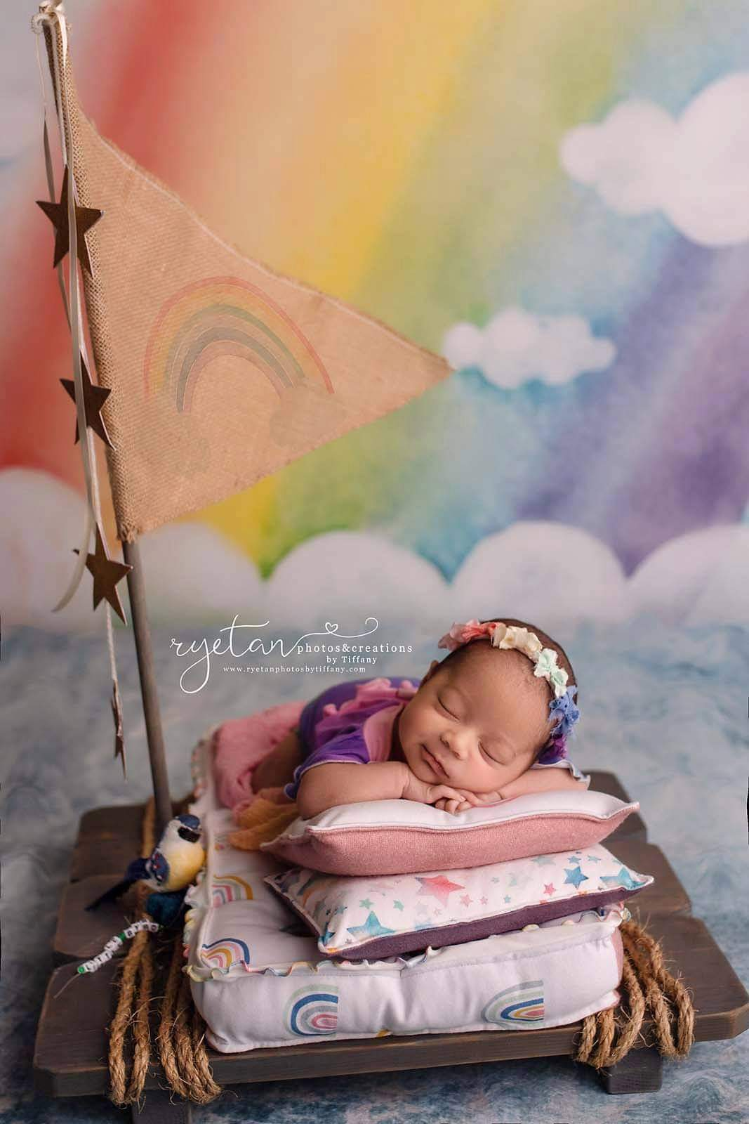 *NEW* Lilly Romper; Newborn; Rainbow Ombre; MTO