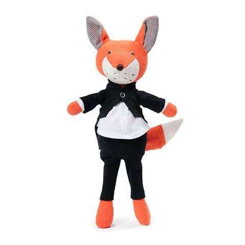Hazel Village - organic cotton Owen fox in a tuxedo