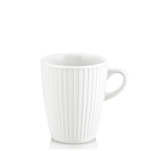 French Pillivuyt - white porcelain Plisse 9 oz mug / cup, 512230 BL, 871638003769