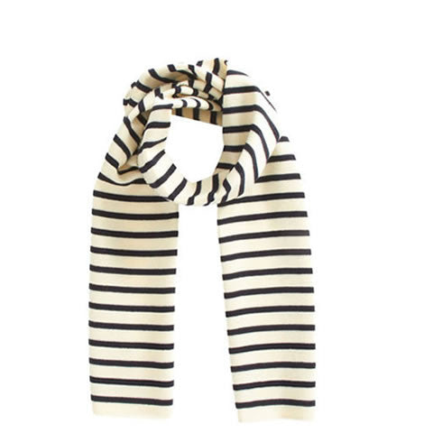 Saint James - French cotton stripe scarf 9689 - ecru and blue
