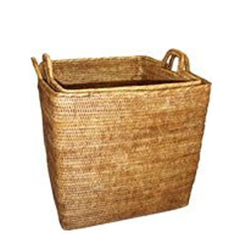 large woven rattan baskets to store laundry or toys