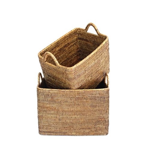 woven rattan baskets to store laundry or toys