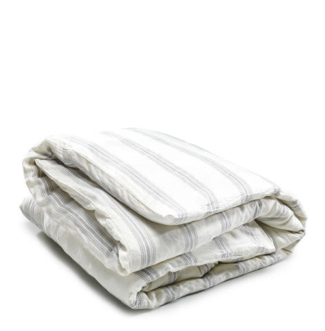 Libeco Belgian linen - Shelter Island striped duvet cover, oyster & grey
