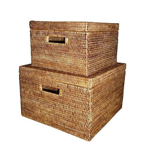 handwoven rattan storage boxes with lids