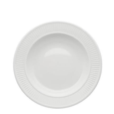 French Pillivuyt - white porcelain Plisse rimmed bowl / soup plate, 202222BL, 871638000751