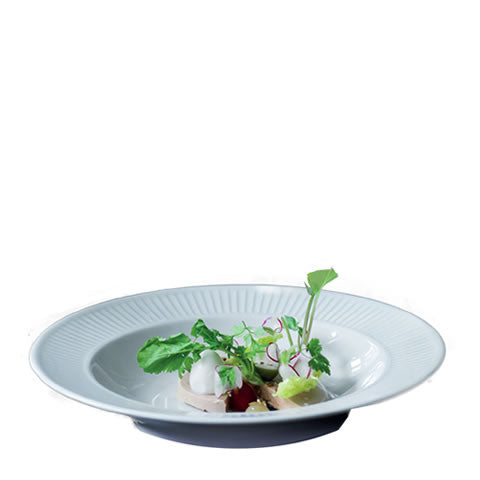 French Pillivuyt - white porcelain Plisse rimmed bowl / soup plate, 202222 BL, 871638000751