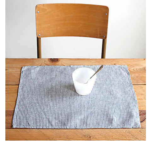 Fog Linen - linen napkins LTN008-GYWS - grey with white stripes, LTM114-GYWS