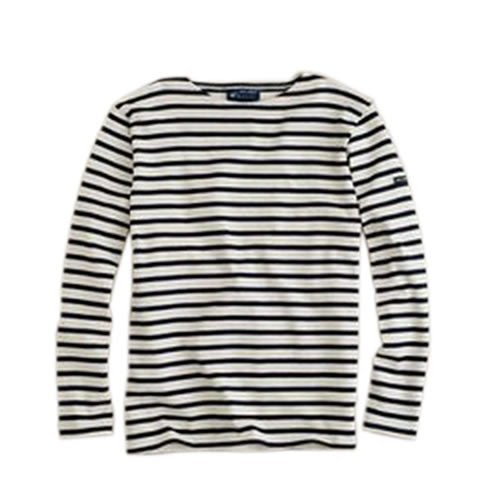 Saint James - Meridien Moderne classic French stripe shirt 6870 - ecru with marine blue stripes