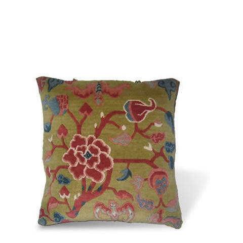 handmade Tibetan pillow - wool front carpet pillow with graphic floral, peridot green background, CT-13b Three Fruits