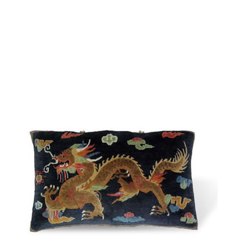 handmade Tibetan pillow - wool & silk front carpet pillow with long brown dragon, navy blue background, CT-07 dragon long blue